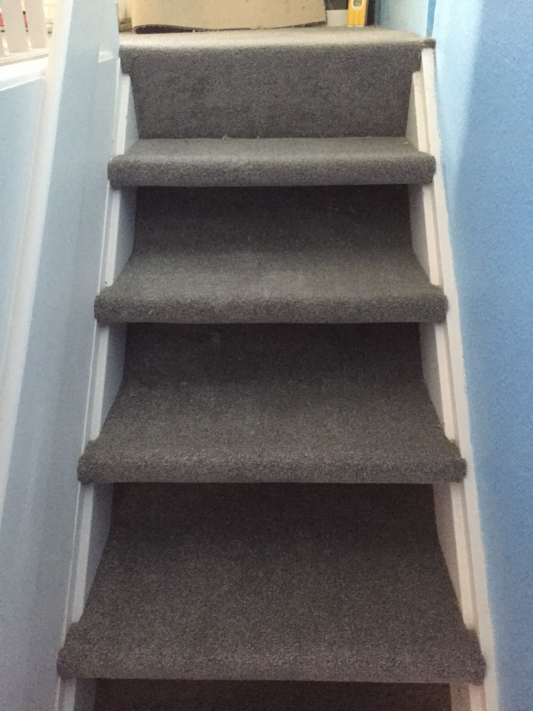 Open stairs with carpet wrapped
